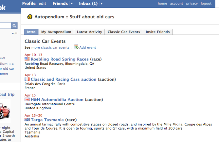 Classic Car Events in Facebook